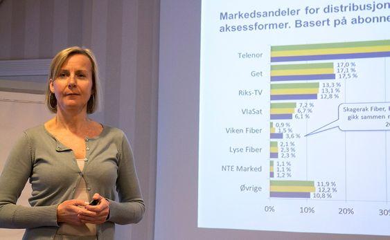 Legger frem teletall: Assisterende direktør i Post- og teletilsynet, Elisabeth Aarsæther legger frem tall som bør glede telekunder.