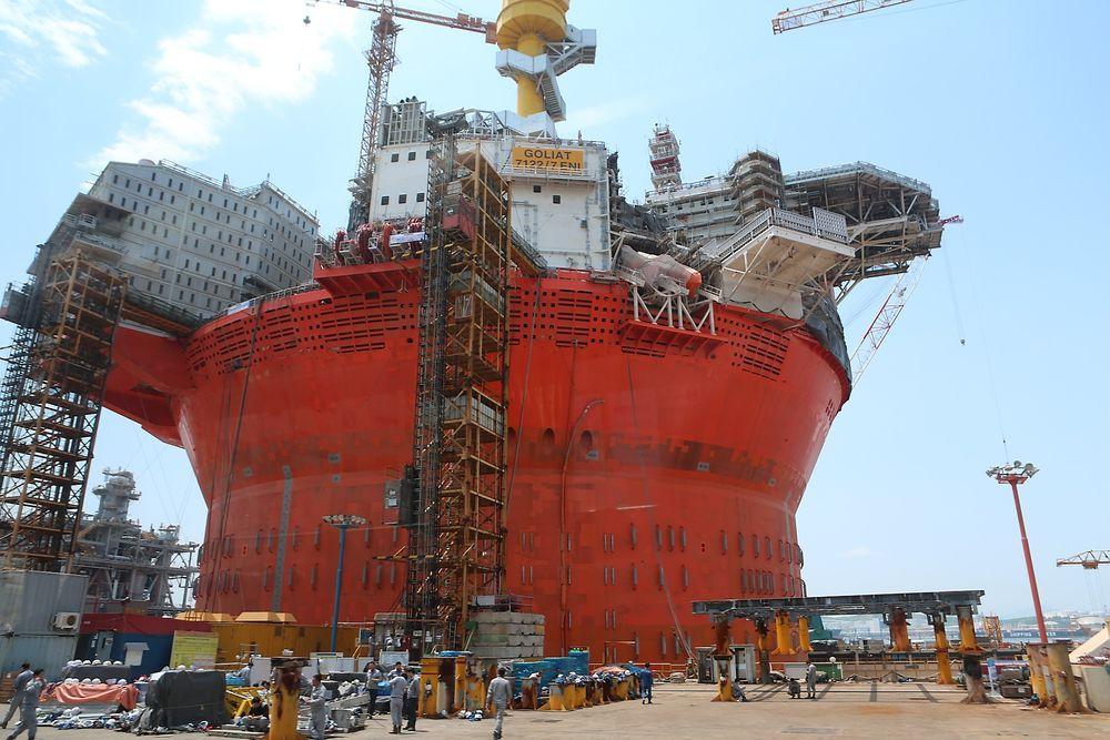 Goliat FPSO ved Hyundai Heavy Industries i Ulsan. Planen er fremdeles at feltet skal settes i produksjon i utgangen av 2014.