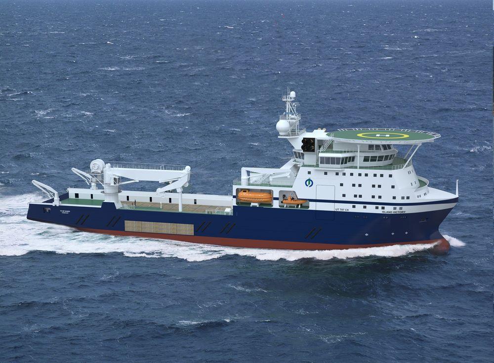 Multifunksjon: Island Offshore bygger Island Victory med UT 797 CX design ved Vard Brevik. Det får 250 tonns kran, bollard pull på hele 400 tonn og kan brukes til operasjoner på store dyp.