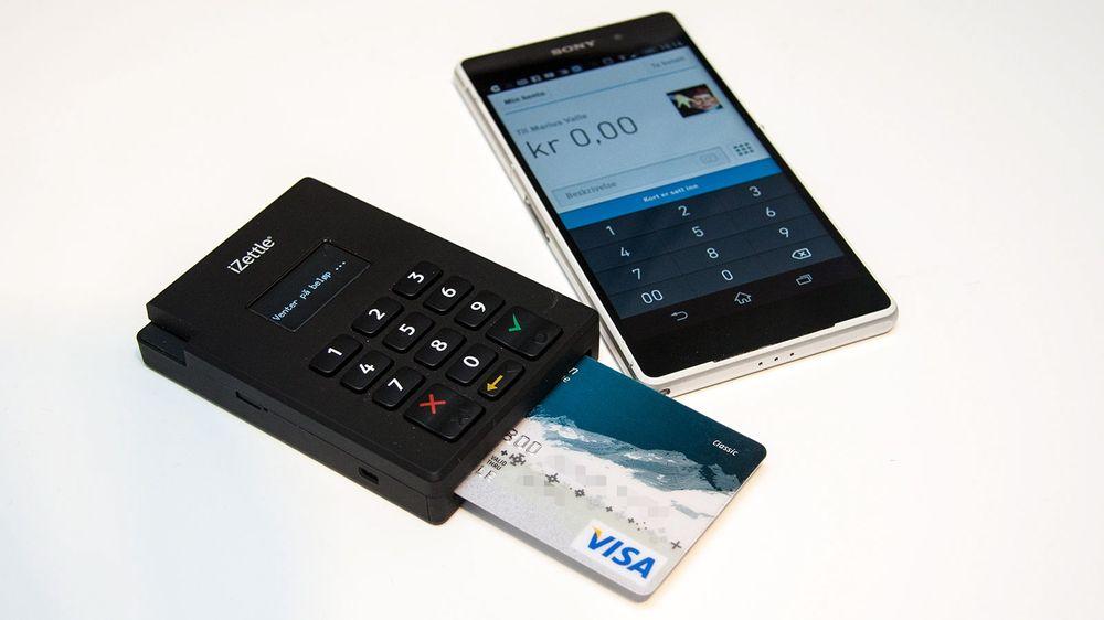 iZettle lar deg ta betalt med kort ved hjelp av en Bluetooth-basert kortleser og en mobilapp.