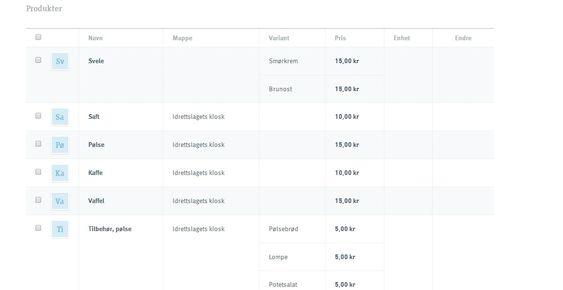 Du kan legge til varelinjer i iZettle-profilen din på nettet.