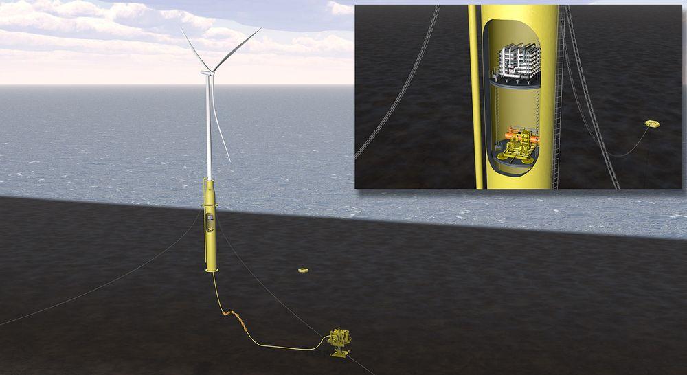 Øke utvinningsgraden: DNV GL vil kombinere integrere kompressor og vanninjeseringsutstyr inn i substrukturen til en flytende havvindturbin. Illustrasjon: Garrad Hassan