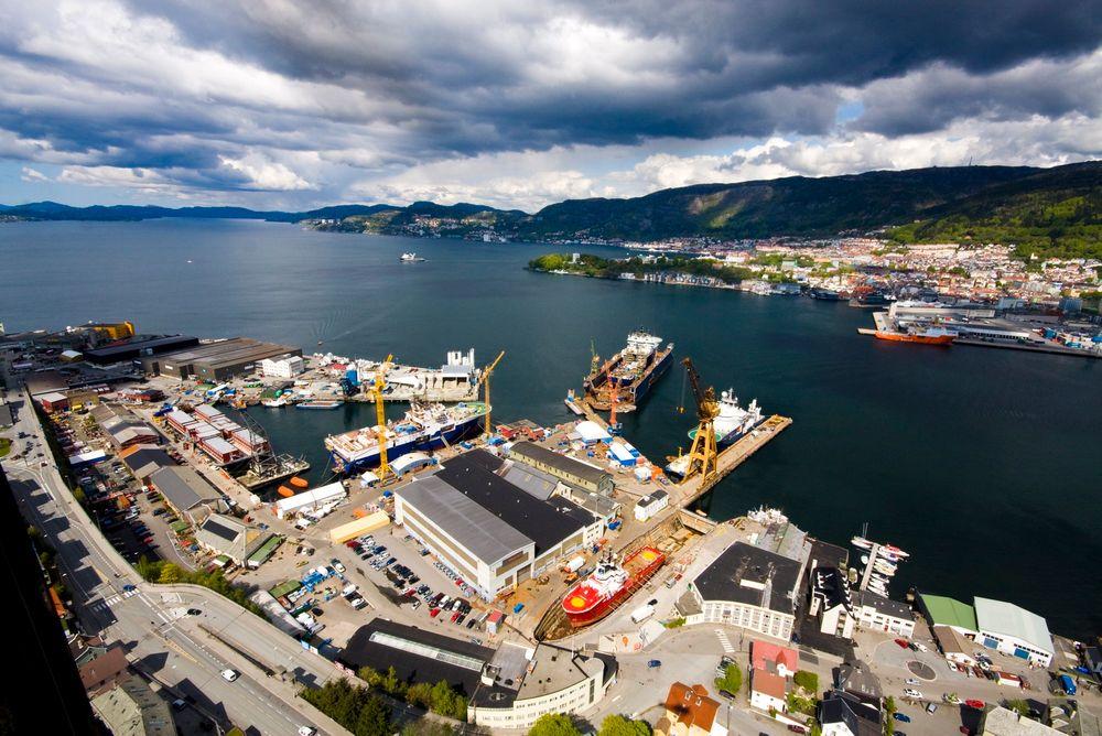Noryards BMV på Laksevåg i Bergen har som andre verft og skipsreparasjonssteder også landstrømtilbud for skip.