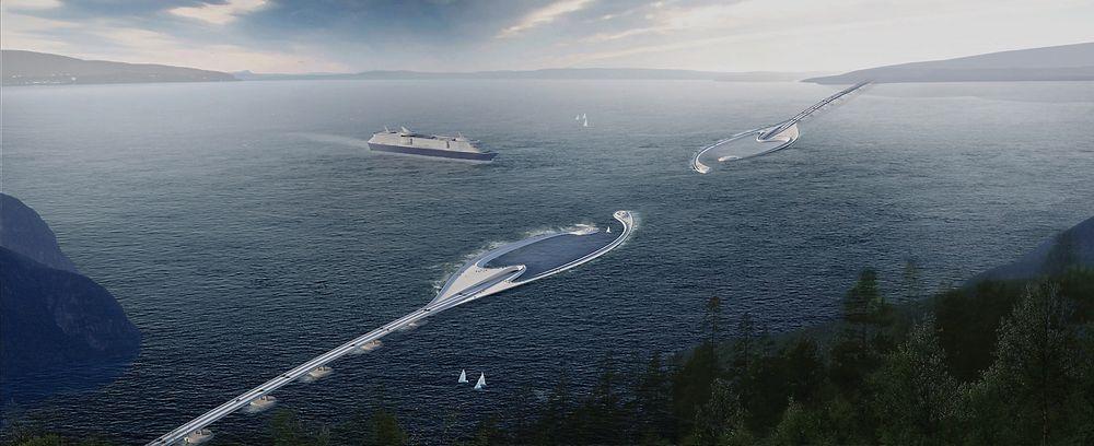 Sammen med Reinertsen, Dr. Techn. Olav Olsen og Sintef jobber Snøhetta med forprosjektet til Rovdefjordsbrua. Her er arkitektselskapets konseptskisse.