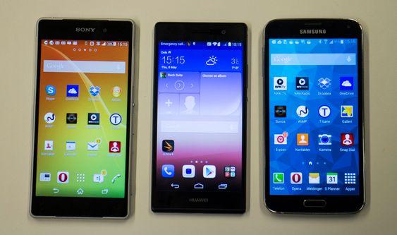 Konkurrentene: Sony Z2 og Samsung S5 er et par av de Ascend P5 (i midten) skal få bryne seg på.