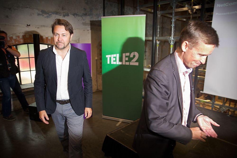 Netcom-sjef August Baumann (til høyre) overtar selskapet til Tele2-sjef Arild Hustad etter at Netcom-eier TeliaSonera blar opp fem milliarder svenske kroner.