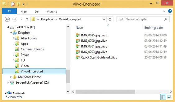 Filene kopieres over til en undermappe i Dropbox (eller din nettskytjeneste) i kryptert og komprimert form. Merk at etternavnene får vedhenget .viivo på seg. I tillegg til å være kryptert sparer man altså plass i nettskyen takket være kompresjonen.