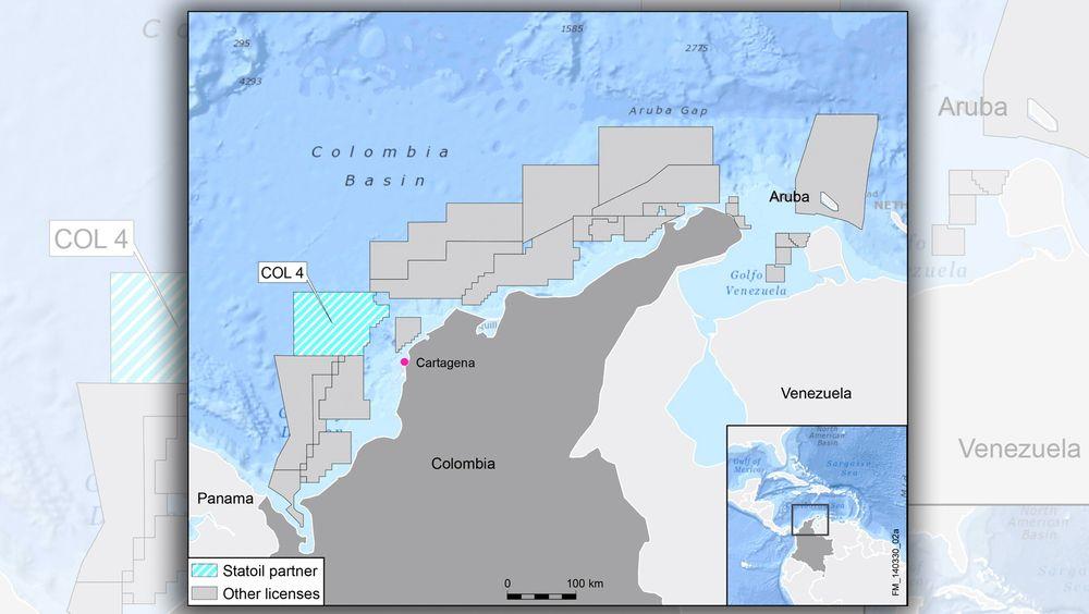 Statoil har fått en 33,33 prosents andel i COL4-lisensen utenfor kysten av Colombia.