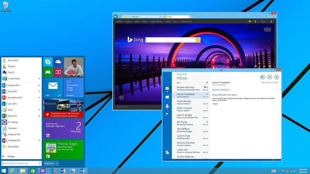 Microsoft har tidligere vist dette skjermbildet som demonstrerer hvordan Modern UI-apper kan kjøres i vinduer, og den heldekkende startskjermen er byttet ut med en klassisk startmeny. Noen av disse endringene er ventet allerede i neste oppdatering av Windows 8.1 senere i år.