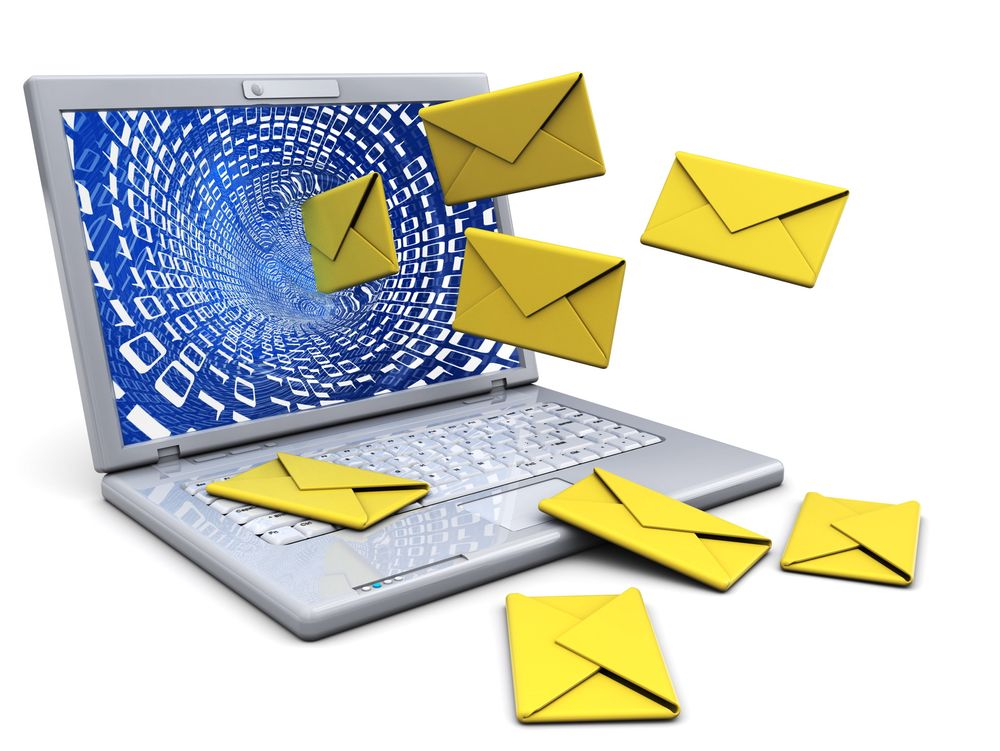 3d illustration of laptop computer with mail envelopes