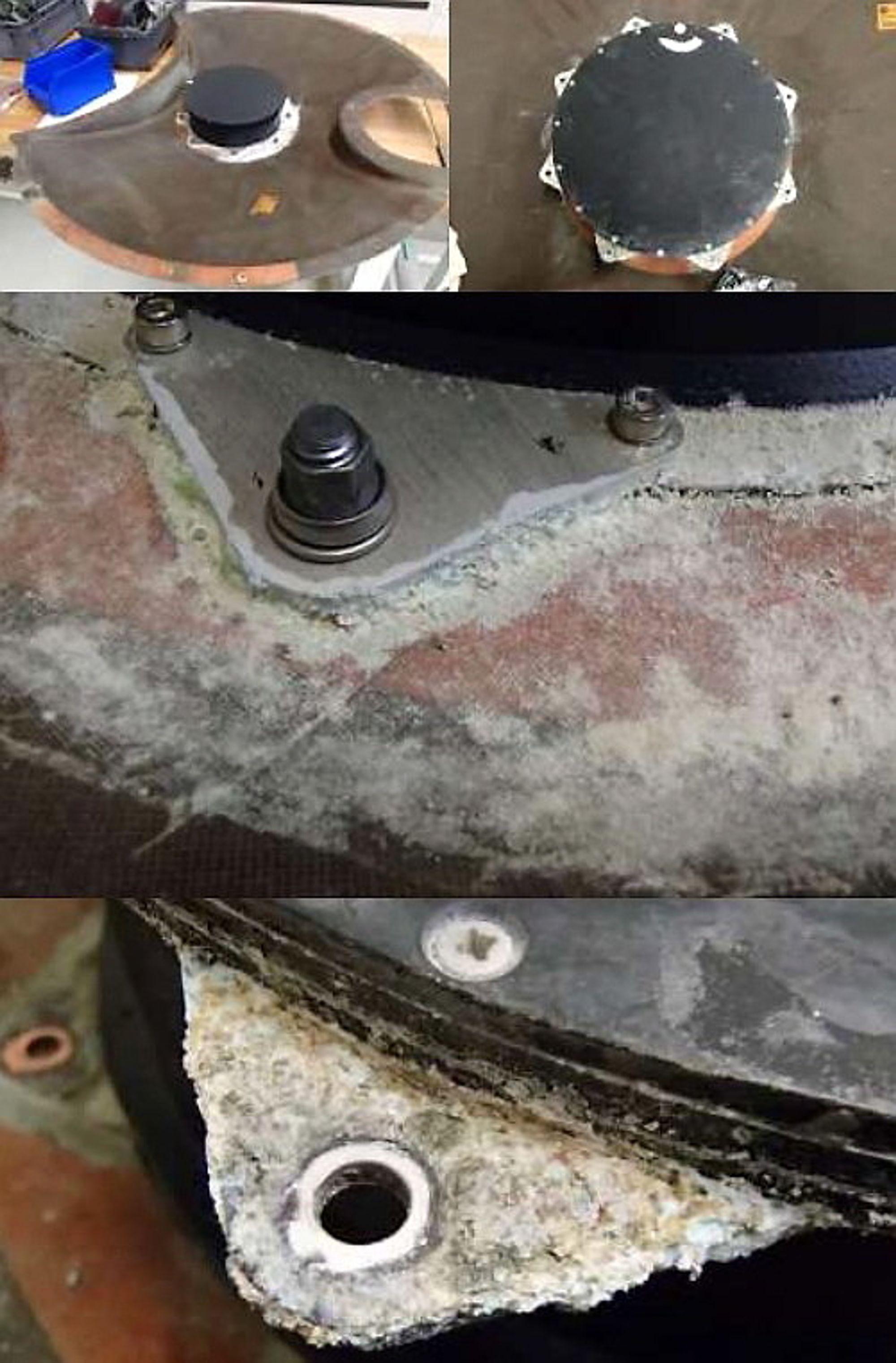 Et tilfeldig eksempel på ett av 92 korrosjonstilfeller er denne antennetilkoblingen der manglende overflatebehandling har ført til korrosjon av aluminiumkoblinene på antenneboksen. Aluminiumen er boltet til karbonfiber-beskyttelsen som har resultert i galvanisk korrosjon som ble ytterligere framskyndet av at dreneringshullene ikke var plassert på lavest mulige sted. Feilproduksjon er dette kategorisert som.