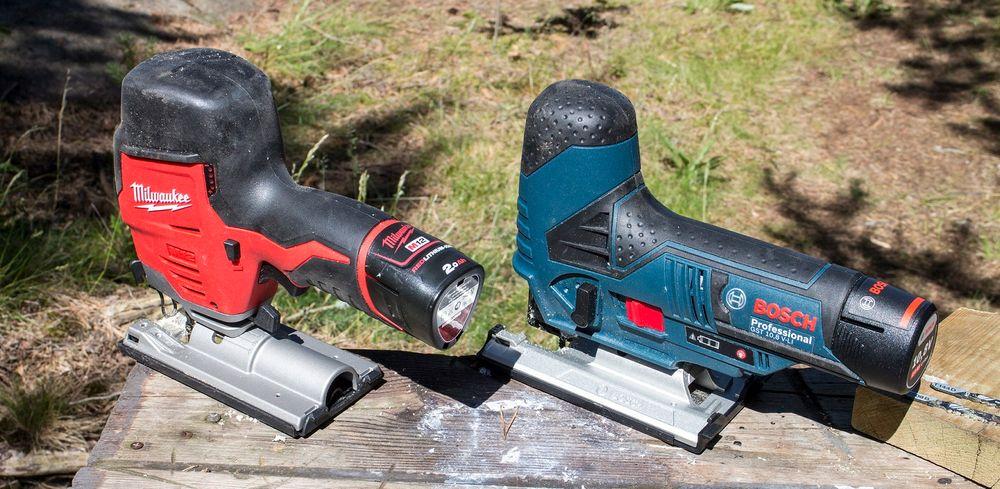Konkurrentene: Både Milwaukee i rødt og Bosch i blått frir til de som vil ha en lett og anvendelig stikksag og som har satset på verktøy med 10,8 volt batterispenning