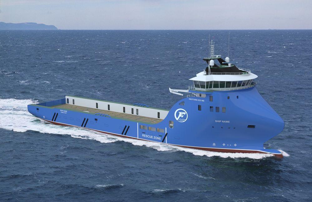 Isklar: Det batterihybride forsyningsskipet Havyard har designet for islandske Fafnir Offshore blir 89,7 meter langt og 19,6 meter bredt. Dekksarealet er på 1000 m2 og skipet får lugarplass til 25. Levering blir i 2015.