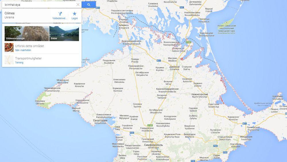 Krimhalvøya ifølge Google. Russland er uenig.