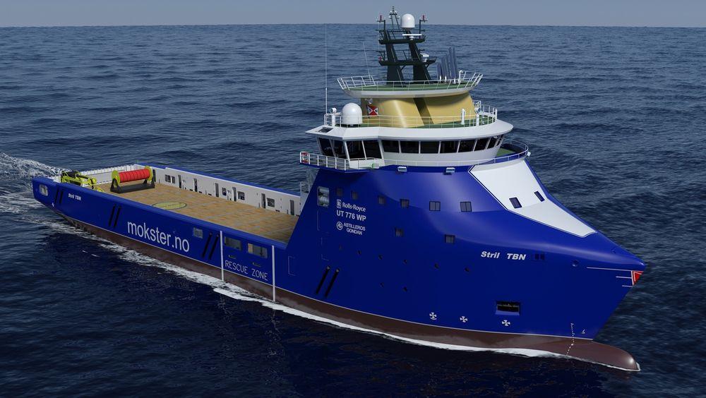 Spansk II: Simon Møkster har bestilt sitt andre forsyningsskip med  UT 776 WP (wave piercing) design fra et spansk veerft. Skipet blir 92 meter langt og 20 meter bredt.