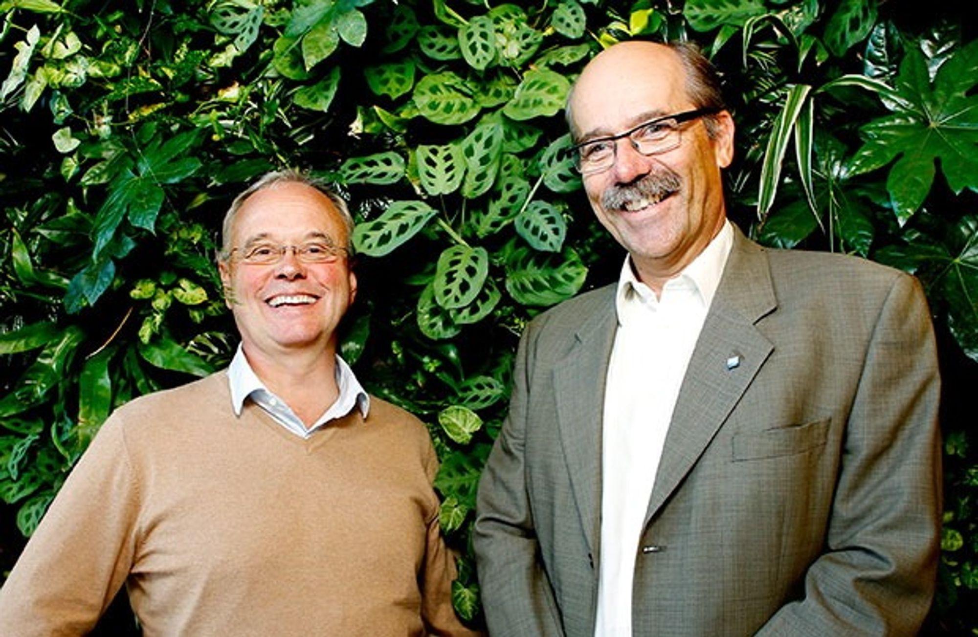 Sverre Tiltnes, til venstre, sammen med Morten Lie, administrerende direktør i Direktoratet for Byggkvalitet som blir vertskap for Bygg21