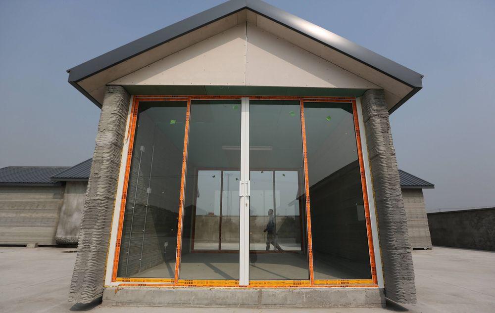 3D-printet hus i Shanghai. 10 hus skal ha blitt bygget