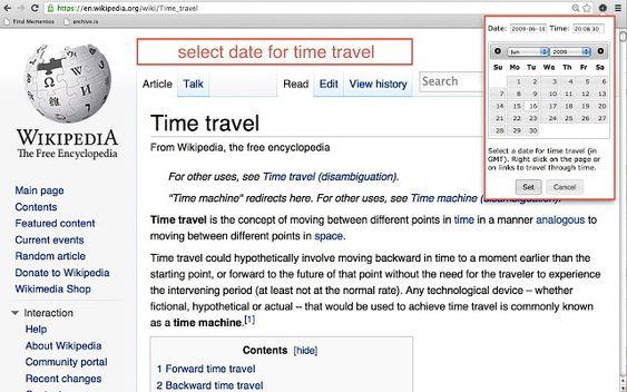 Memento er et Google Chrome-innstikk som lar deg reise tilbake i tid på nettsteder og lenker.