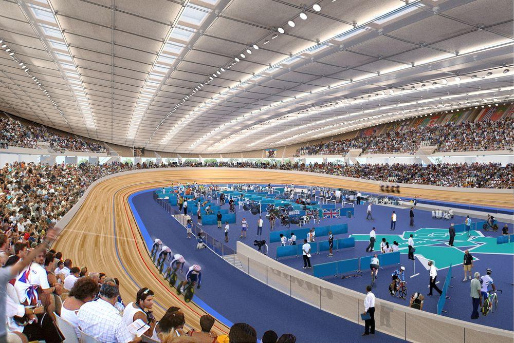 Når velodromet på Sola står ferdig vil det være det første innendørs velodromet i Norge. Sola kommunes mål er at banen kan brukes til internasjonale konkurranser, slik som OL i London i 2012, vist på bildet.