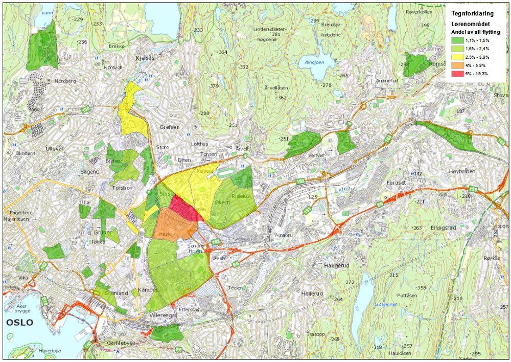 Målrettet: Dette kartet fra systemet Geodata og Prognosesenteret sammen har utviklet viser hvor personer som flytter til Løren-området kommer fra. Sammen med fakta om inntekt, familieforhold og alder gir det utybggere mulighet til å målrette markedsføringen og velge de best egnete boligkvalitetene ved en utbygging.