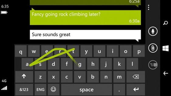 Windows Phone 8.1 har et tastatur du kan tegne på.