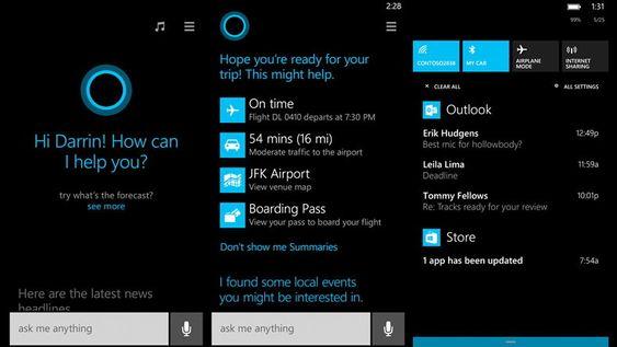 Cortana er Microsofts nye stemmeassistent. Helt til høyre ser du det nye varselsenteret.