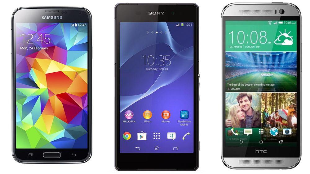 Samsung Galaxy S5, Sony Xperia Z1 og HTC One (M8) er de neste toppmodellene som kommer i salg nå. To av dem kommer over helgen.