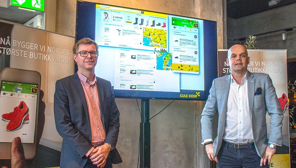 På søk: Sjefen for produktutvikling i Gule Sider, Håvard Atle Skaug og adm. dir. i Eniro Norge, Pierre Mårtensson vil ha sin del av søkekaka når vi bruker dingsene våre til å finne frem i produktjungelen
