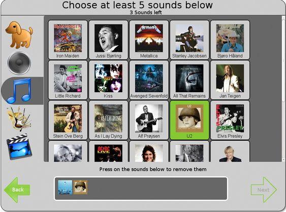 Å velge en serie lydspor kan også brukes til innlogging.