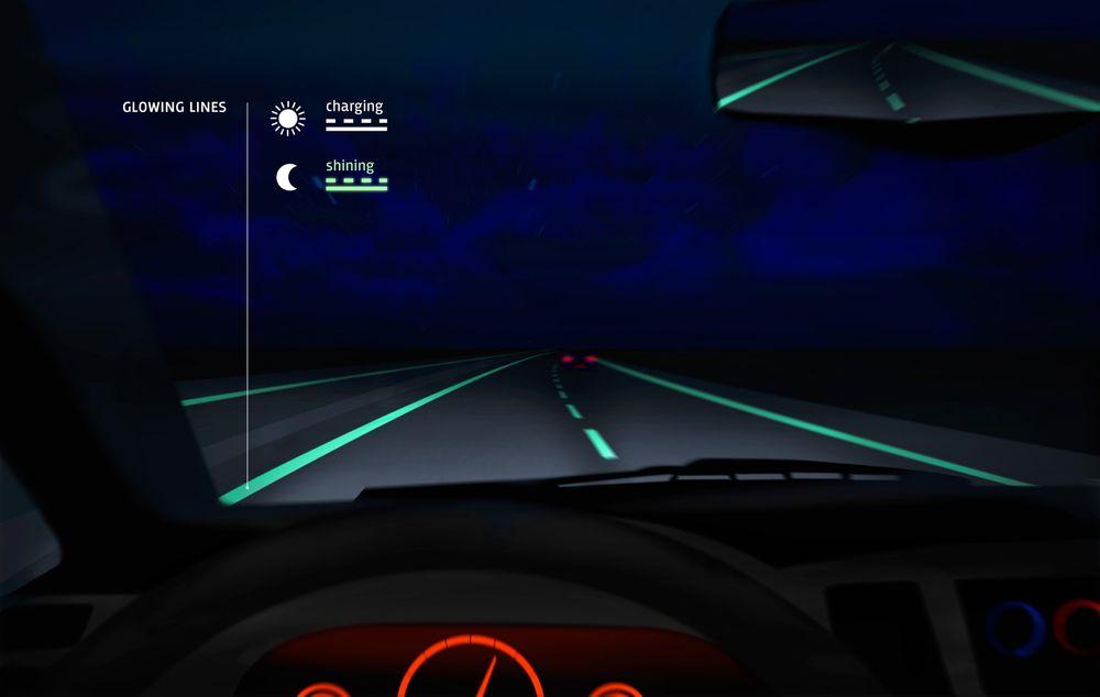 Selvlysende veioppmerking testes ut på nederlandske motorveier.