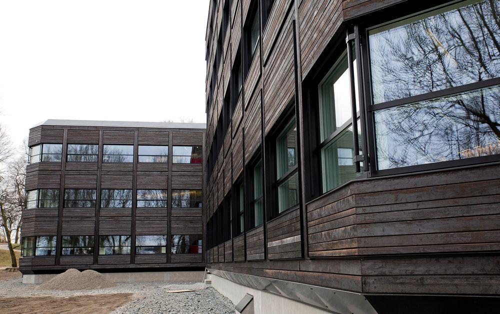 Sort som glass: Før renoveringen hadde kontorbygget fasade av sort glass. Bærum kommune ville ha det samme uttrykket i bygget etter renovering. Glass var uaktuelt. Sort beis eller maling var også uaktuelt, begge av klimahensyn. Svaret ble brent tre. Bortsett fra brenningen er kledningen helt ubehandlet, og den skal kunne stå i veldig mange år uten fare for sopp- og råteskader. Foto: Mona Strande