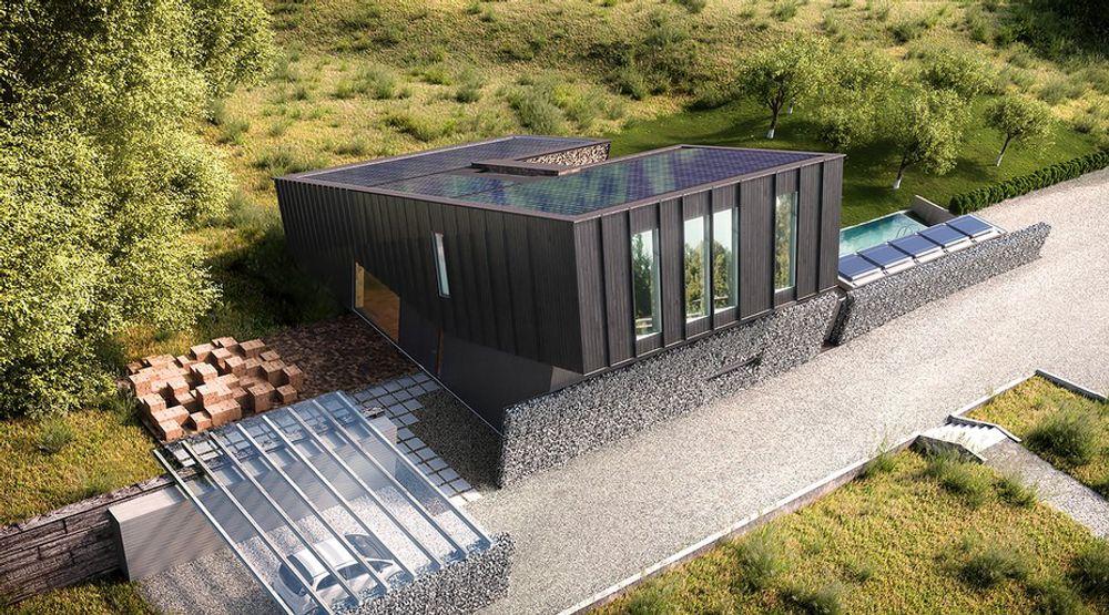 Hele taket er dekket med 147m2 solcellepaneler, som gjør huset til et plusshus.