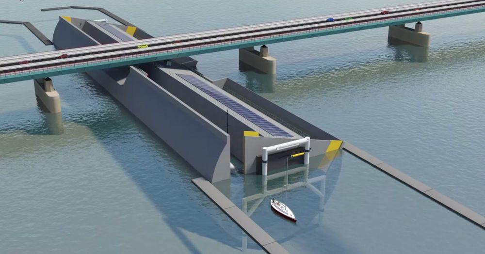 Vippende sluser senker skip under broen for å unngå stopp i biltrafikken som ved normale klaffebroer.