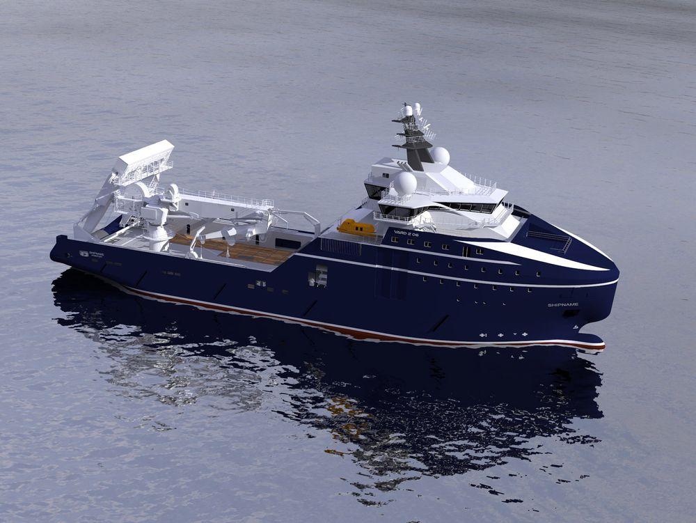 Dypt og kaldt: VARD 2 06 - Offshore Construction and Anchor Handling vessel for Rem Offshore - er klar for operasjoner i arktiske strøk med isklasse 1-B og kran for arbeider ned til 3000 meter.