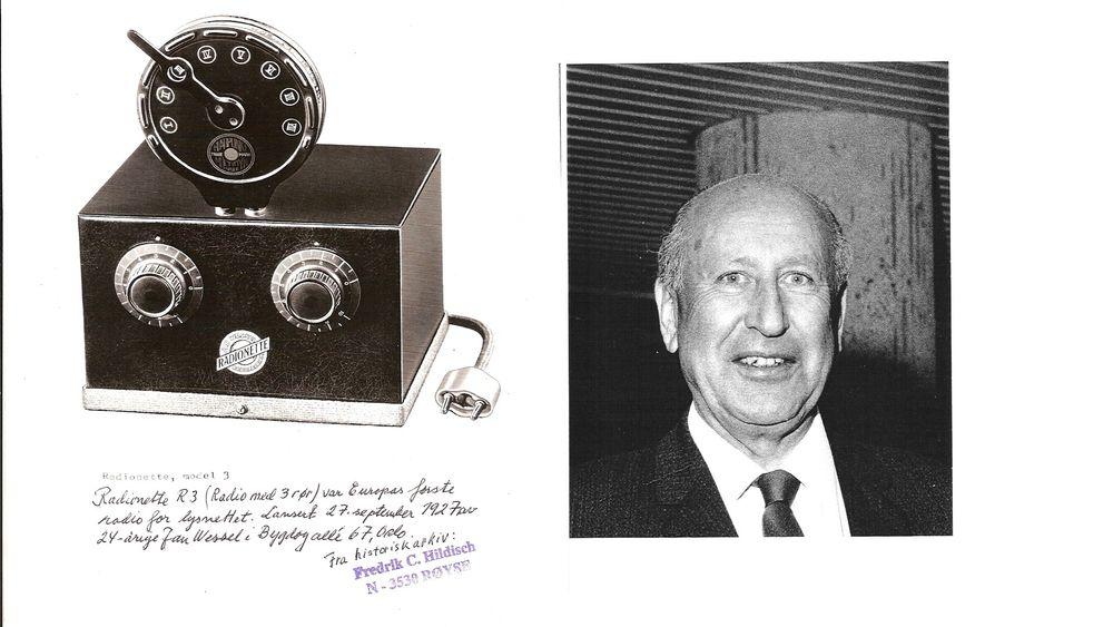 Med støpsel: Radionette R3 ble starten på et norsk radioeventyr da den ble lansert som europas første nettdrevne radio 27. september 1927. Jan Wessel (1903-1980) startet et norsk industrieventyr.