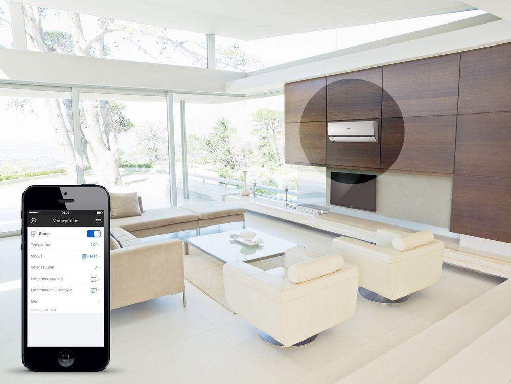 Appstyrt: I Verisures nye app kan også varmepumpa styres.