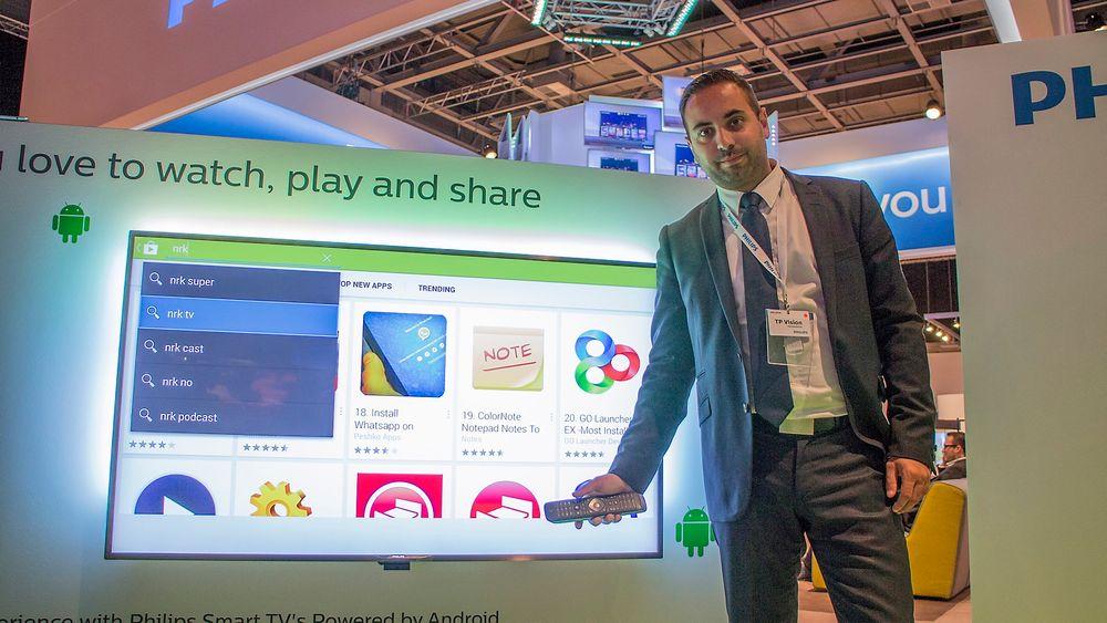 Liker Google: Salgssjef Daniel Eriksson i TP Vision, selskapet som når eier Philipsmerket for TV-er har stor tro på at Android er noe folk vil ha på TV-ene sine. De det har på telefonen vil de også ha i stua.