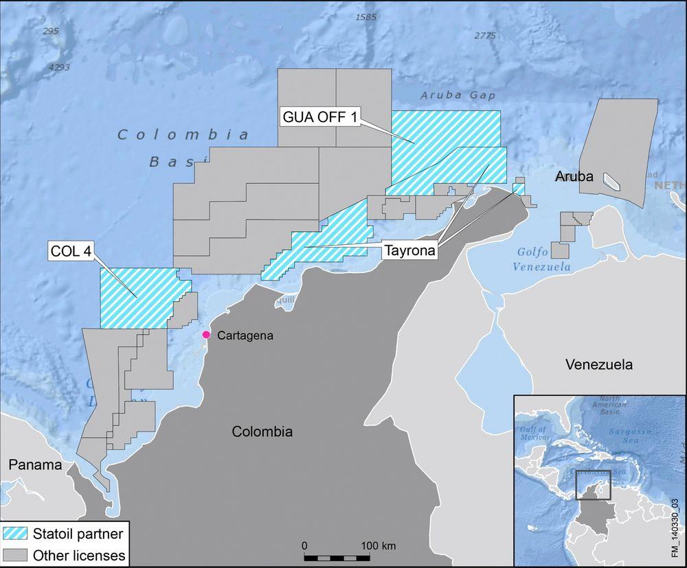 Statoil er tildelt og har kjøpt seg inn i lisenser offshore Colombia.