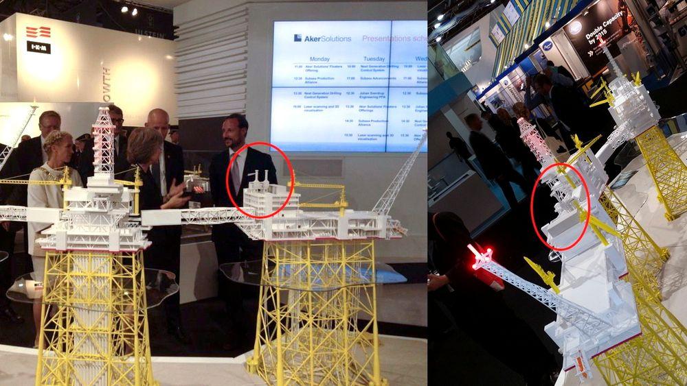 To gassturbiner ble til én på modellen av Johan Sverdrup. På modellen til venstre var plattformen utstyrt med to turbiner. Til høyre er den ene turbinen fjernet av prosjektdirektør for Sverdrup i Statoil, Øyvind Reinertsen.