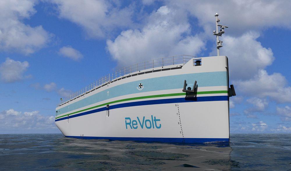 ReVolt er DNV GLs konsept for et mindre saktegående lasteskip uten mannskap, som lades når det ligger til kai.