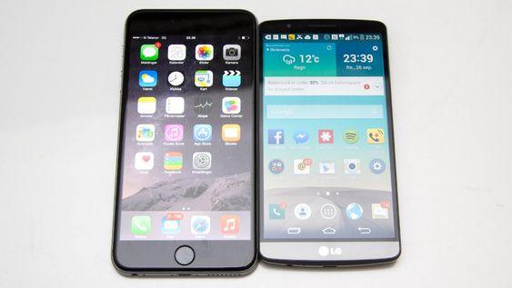 iphone 6 Plus ved siden av LG G3 som også har 5,5 tommers skjerm.