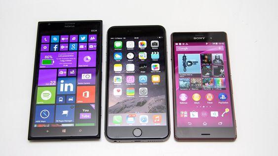 Fra venstre: Nokia Lumia 1520, Apple iPhone 6 Plus, Sony Xperia Z3 med henholdsvis 6, 5,5 og 5,2 tommers skjerm.