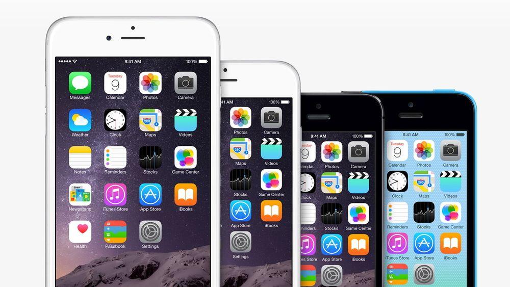 Fra venstre: iPhone 6 Plus, iPhone 6, iPhone 5S og iPhone 5C.