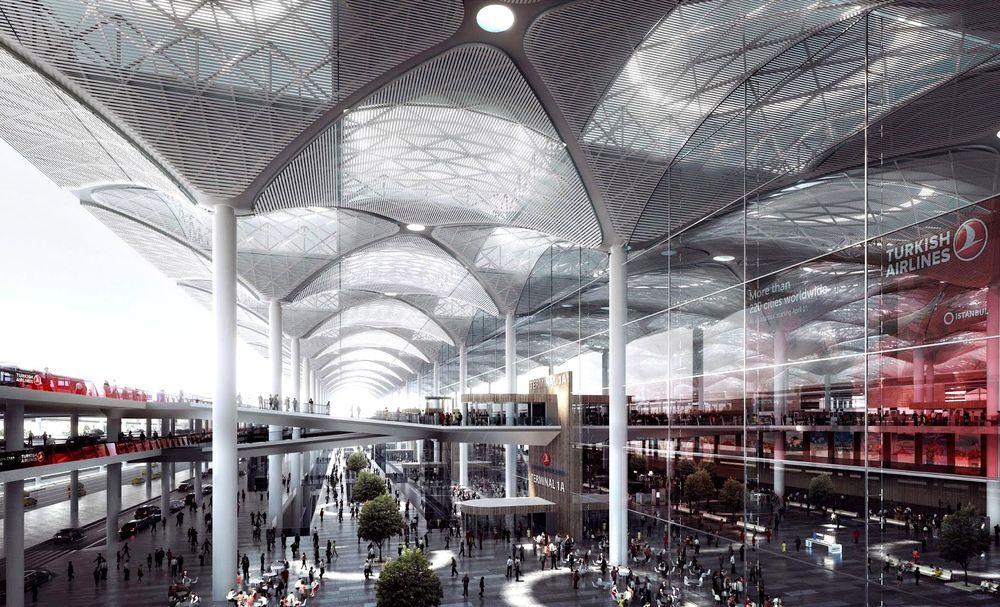 Ottomansk-inspirert terminalbygg: Innvendig kan Istanbuls tredje flyplass minne om moskéanleggene til den store ottomanske 1500-talls-arkitekten Mimar Sinan.