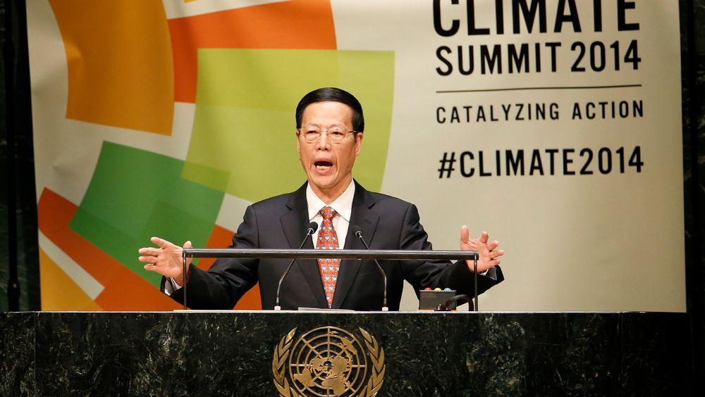 Kinas visestatsminister Zhang Gaoli lover at Kina vil kutte kraftig i utslippene av klimagasser.