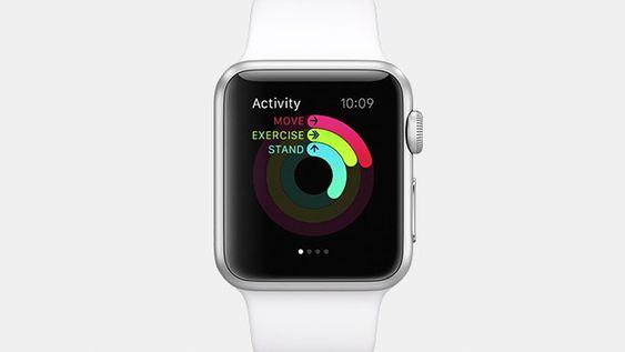 Apples aktivitetsmåler viser tre ringer som måler ulike mosjonsrelaterte aktiviteter.