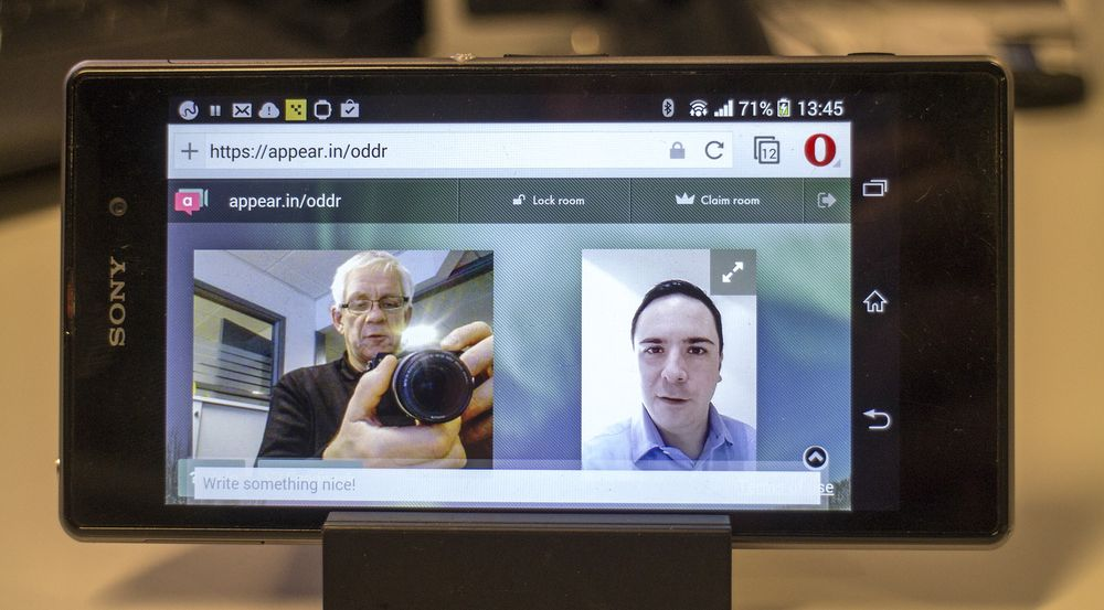 Videomøte: Vi brukte nye Opera 20 som ble sluppet i dag når vi skulle snakke med kommunikasjonssjef i Opera, Pål Unanue-Zahl, om de nye videomøtefunksjonene i den mobile nettleseren.