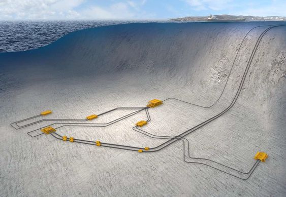Lay out 2020: Slik kan undervannsutbyggingen på ned mot 1200 meters dyp på Ormen Lange se ut med kompressoranlegget (nærmest veggen ved Storeggaraset) om syv år.