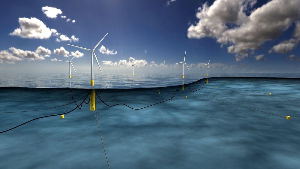 Omtrent slik kan fem 6MW optimaliserte Hywind-turbiner på Buchan Deep utenfor Peterhead i Skottland bli seende ut. Statoil avviser at de er låst i dagens tankesett og ikke tør å tenke nytt.