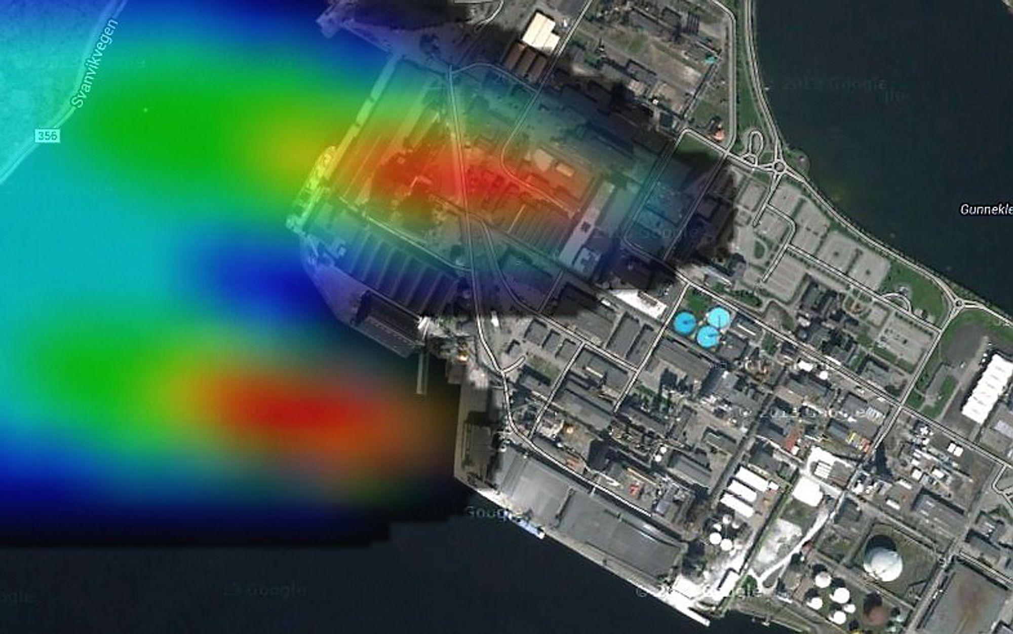 Terrengdata fra Kartverket gir bedriften Purenviro gratis råstoff til en modell over hvordan vond lukt sprer seg fra et industriområde.
